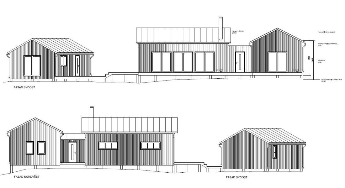 Bygglovshandling som visar hushöjd över medelmarknivån