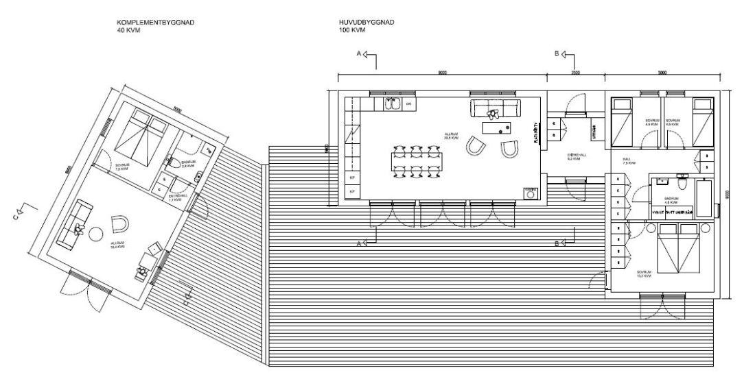 Bygglovshandling med planlösning och terrass